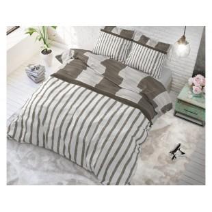 Sivo-hnedá posteľná obliečka zo syntetickej bavlny so vzorom