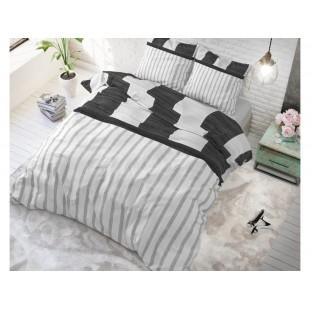 Bielo-sivá posteľná obliečka zo syntetickej bavlny s prúžkami