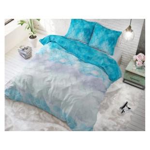 Modrá posteľná obliečka zo syntetickej bavlny so vzorom
