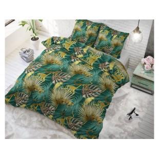 Zelená posteľná obliečka zo syntetickej bavlny s rastlinným motívom