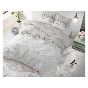 Sivá posteľná obliečka zo syntetickej bavlny s nápismi