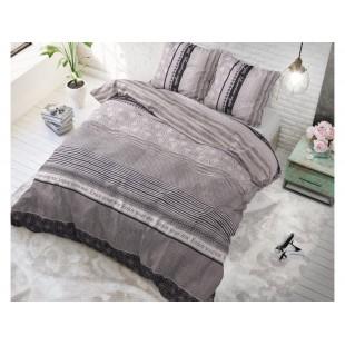 Sivá posteľná obliečka zo syntetickej bavlny so vzormi