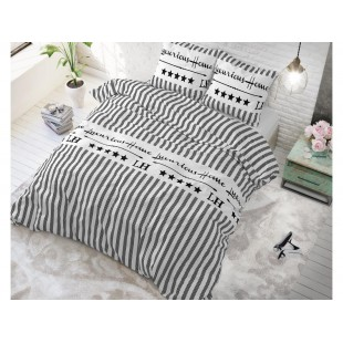 Biela pásikavá posteľná obliečka zo syntetickej bavlny