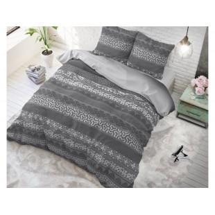 Tmavosivá posteľná obliečka zo syntetickej bavlny so vzormi