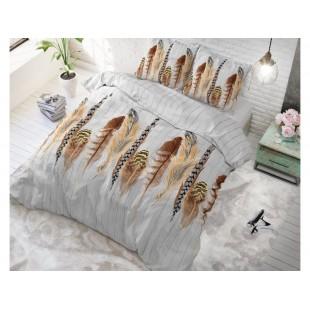 Sivá posteľná obliečka zo syntetickej bavlny s motívom pierok