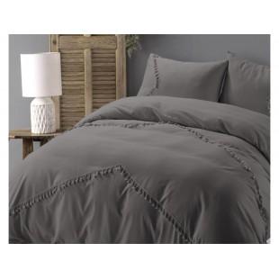 Tmavosivá posteľná obliečka z prémiovej bavlny s ozdobami