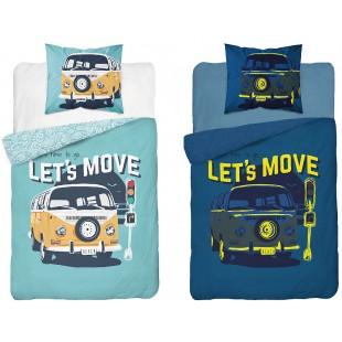 Modrá detská svietiaca bavlnená posteľná obliečka s autom