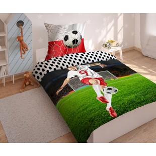 Detská bavlnená posteľná obliečka s futbalistom