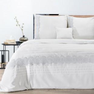 Biela posteľná obliečka zo saténovej bavlny s čipkou