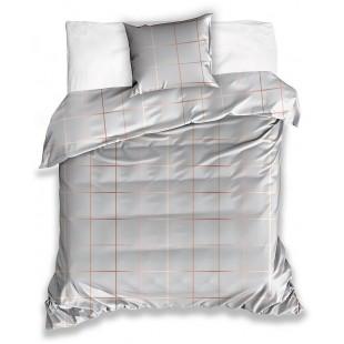 Sivo-hnedá posteľná obliečka zo saténovej bavlny s kockovaným vzorom