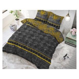 Čierna posteľná obliečka z čistej bavlny so vzorom