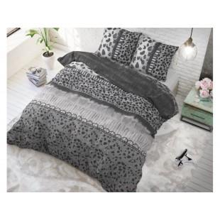 Sivo-čierna posteľná obliečka z čistej bavlny so zvieracím motívom