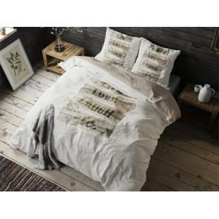 Bielo-krémová posteľná obliečka z čistej bavlny s nápismi
