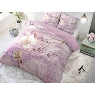 Ružovo-fialová posteľná obliečka z čistej bavlny s kvetom