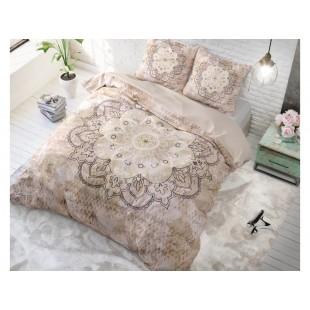 Béžová posteľná obliečka z čistej bavlny so vzorom