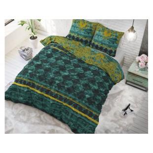 Zelená posteľná obliečka z čistej bavlny so vzorom