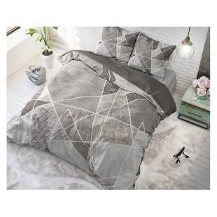 Sivá posteľná obliečka z čistej bavlny so vzorom