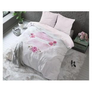 Ružová posteľná obliečka s kvietočkami a nápisom