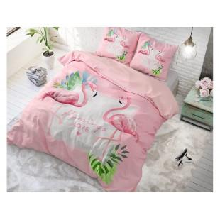 Ružová posteľná obliečka z čistej bavlny s plameniakmi