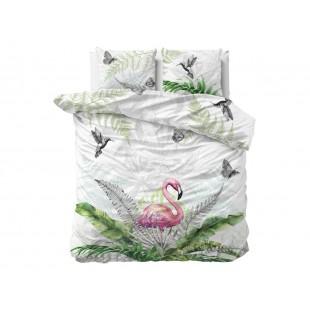 Sivá posteľná obliečka z čistej bavlny s plameniakom