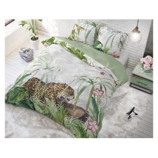 Sivá posteľná obliečka z čistej bavlny s tigrom
