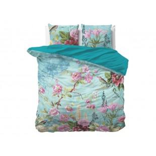 Modrá posteľná obliečka z čistej bavlny s kvetmi
