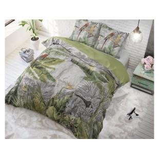 Sivo-zelená posteľná obliečka s rastlinným motívom