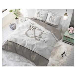 Sivá posteľná obliečka z čistej bavlny Mr and Mrs