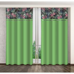 Zelený stredne zatemňujúci záves s motívom kvetov