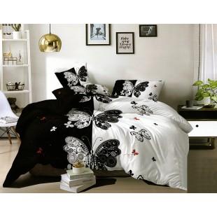 Čierno-biela posteľná obliečka z mikrovlákna s motívom motýľa