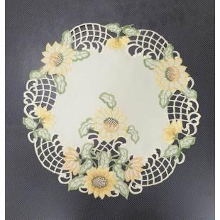 Krémový kvetovaný dekoračný obrus