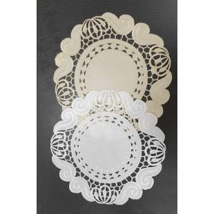 Krémový kruhový dekoračný obrus