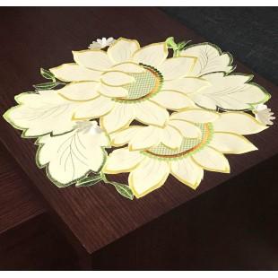 Kvetinový okrúhly dekoračný obrus