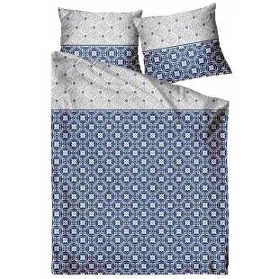 Modrá posteľná obliečka zo saténovej bavlny so vzorom