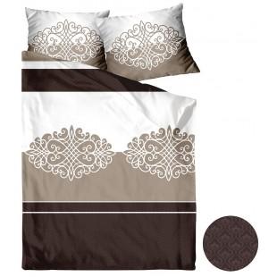 Béžovo-hnedá posteľná obliečka zo saténovej bavlny