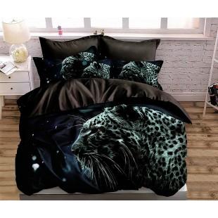 Čierno-tyrkysová posteľná obliečka so vzorom tigra
