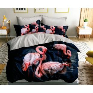 Modro-ružová posteľná obliečka z mikrovlákna s motívom plameniakov