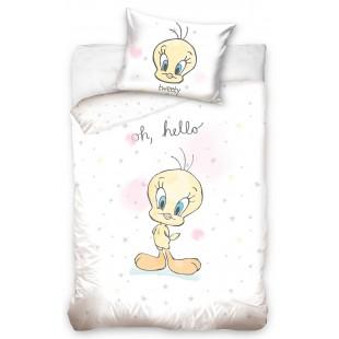 Biela bavlnená detská posteľná obliečka s motívom LOONEY TUNES