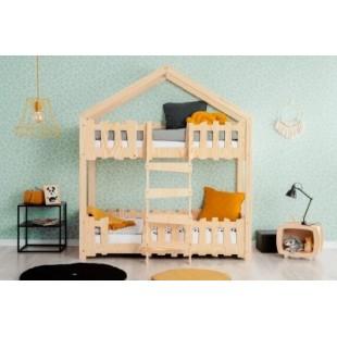 Drevená poschodová posteľ v tvare domčeka