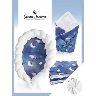 Tmavomodrá výbava pre novorodenca so zamatovou prikrývkou Ocean Dreams