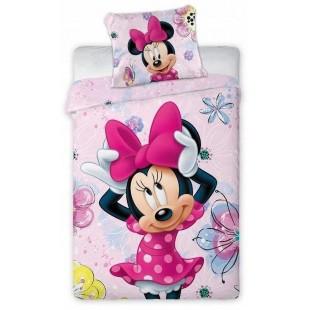 Ružová detská bavlnená posteľná obliečka s Minnie Mouse