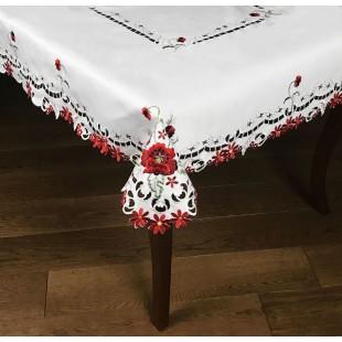 Biely dekoračný obrus s červenými kvetmi