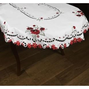 Biely oválny dekoračný obrus s červenými kvetmi