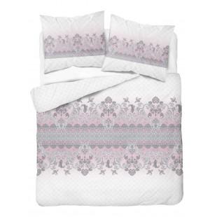 Bielo-sivo-ružová posteľná obliečka zo saténovej bavlny