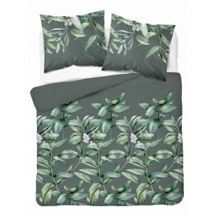 Sivo-zelená posteľná obliečka zo saténovej bavlny