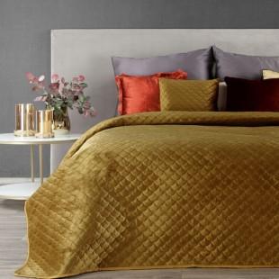 Horčicový zamatový prehoz na posteľ s polkruhmi
