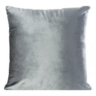 Sivá zamatová obliečka na dekoračný vankúš