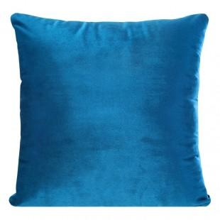 Modrá zamatová obliečka na dekoračný vankúš