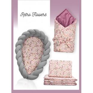 Dievčenská výbava pre novorodenca s motívom lúčnych kvetov