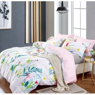 Biela obojstranná posteľná obliečka s rastlinným motívom z mikrovlákna
